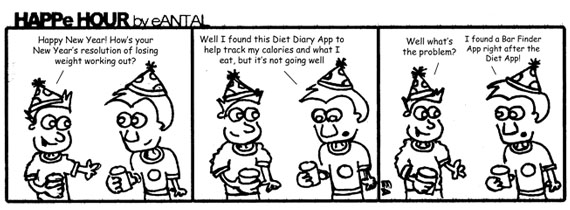 HAPPe HOUR Digital Marketing Comic Strip for January 4, 2013